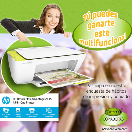 Regístrate, responde un cuestionario sobre hábitos de impresión y copiado, y participa en la rifa de un multifuncional HP Advantage 2135 con capacidad de copiado, escaneado e impresión a color con velocidad de hasta 20 ppm.